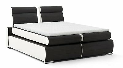boxspringbett 140 x 200 cm led designerbett hotelbett doppelbett schwarz topper eur 1 00. Black Bedroom Furniture Sets. Home Design Ideas
