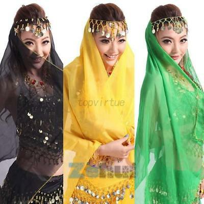 Retro Chiffon Belly Dance Face Veil Coins Head Scarf Shawl Headband Headpieces
