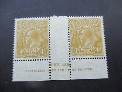 KGV Stamps: 4d Olive Imprint Pair C of A Watermark MH  (A97)