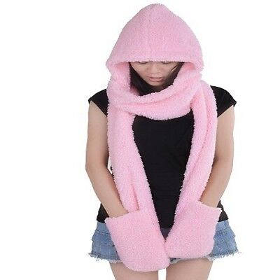 3in1 Pink Hood Hoodie Soft Warm Fluffy Long Hat Scarf With Pocket For Women