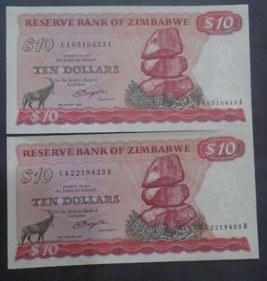 ZIMBABWE , P 3a , 10 Dollars , 1980 , UNC , 2 different suffixes