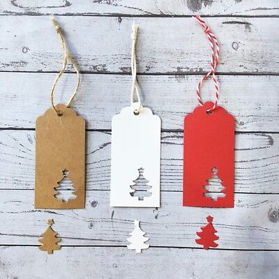 50/100 Hollow Christmas Tree Craft Paper Gift Baking Price Tags W/ Jute Strings