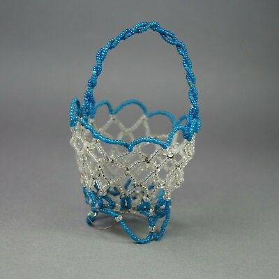 Antique 19th Century French Miniature Doll Basket Beadwork Handbag Victorian