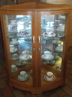 Vintage Art Deco timber & glass mirror backed corner display china cabinet