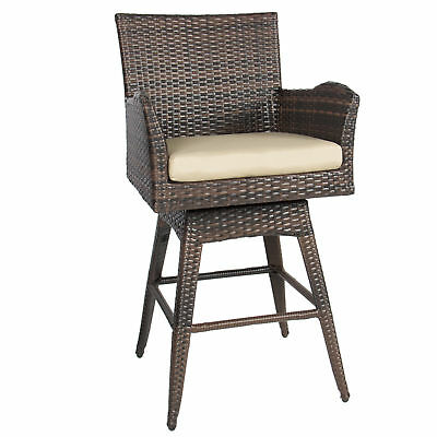 Outdoor Patio Furniture All-Weather Brown PE Wicker Swivel Bar Stool w/ Cushion