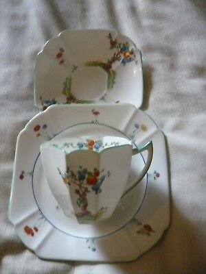 Shelley Queen anne cup, saucer & tea plate trio Crabtree pattern