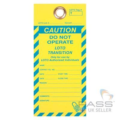 Do Not Operate - Loto Transition Tag - Yellow / Blue - Pack of 10