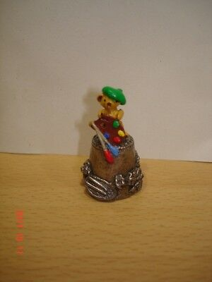 Teddy Artist Stephen Frost Pewter Thimble