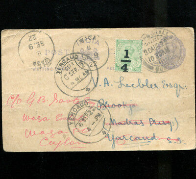 India Stationary Advertising Postcard / Cover 1922 Imperial fruit Agency Quetta