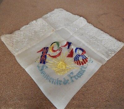 WW1 1918 Silk handkerchief Allied Flags within the Date lace Edge
