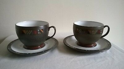 Denby marrakesh two breakfast (large tea) cups and saucers