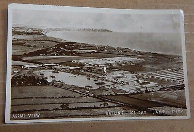 Postcard Butlins Filey aerial View Real photo posted 1960  .