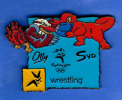 Wrestling events Pin - Mascots with pictogram - Sydney Summer Olympics