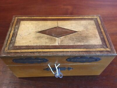 Antique Inlaid Money Box With Lock And Key