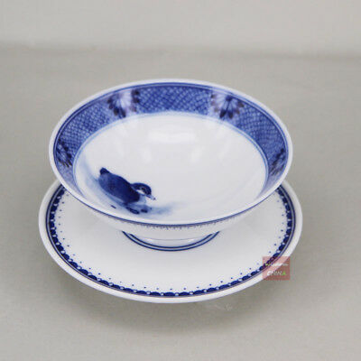 Hand painted China Jingdezhen Blue & white porcelain tea cup 40cc with holder A