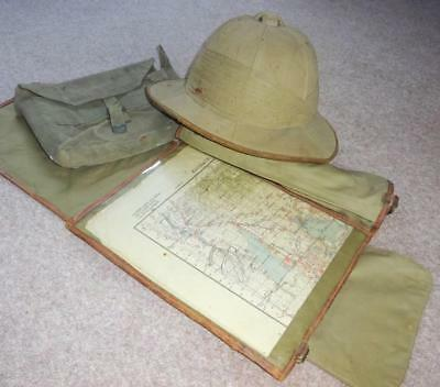 WW2 P37 Indian Army Officers Sidepack, Mapcase, and Pith Helmet