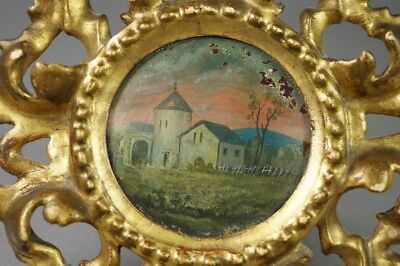 19th Century French Miniature Oil Painting On Panel Circular Gilt Wood Frame