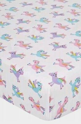 Pink Rainbow Unicorn Single Bed Fitted Sheet Girls Purple Blie