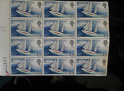 GB mint & unmounted Gypsy Moth stamps - block of 12 (1967)
