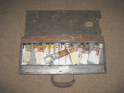 Antique Vintage Old Metal Artist Paint Box With Mahogany Paint Board & Paints