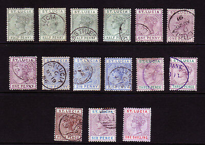 ST LUCIA. QV USED SELECTION. 1/2d to 1/-.