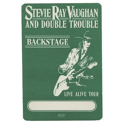 Stevie Ray Vaughan authentic 1986 Live Alive tour satin Backstage Pass green