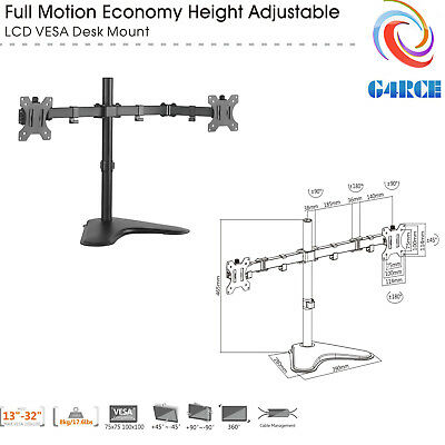 "G4RCE Double Dual Display Computer Monitor Arm Mount Desk Stand 13-32"" Screen UK"
