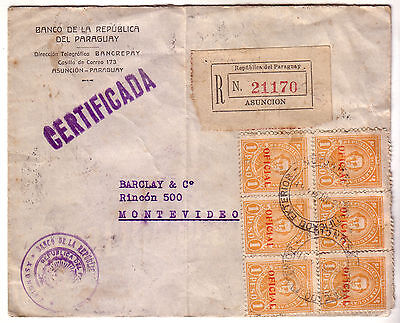 Paraguay 1937 Registered Official Cover To Uruguay