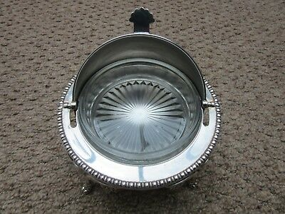 Vintage Ornate Dome Roll Top Lidded Silver Plated Butter Caviar Dish Cooler VGC