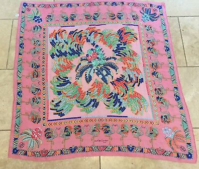 Vintage Pure Silk Cartier Scarf - Jewelled Pink Flamingo's
