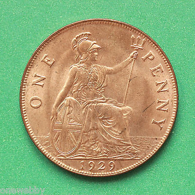 1929 George V Uncirculated Penny Full lustre SNo40698