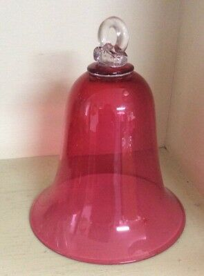 Victorian Cranberry Glass Oil Lamp Bell, Smoke Protector,