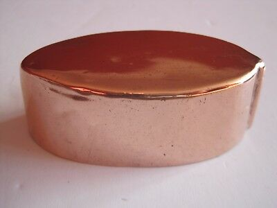Antique Victorian Small Copper Oval  Pod / Leaf Shape Mould With Tinned Interior