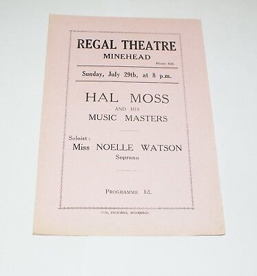 Regal Theatre Minehead Hal Moss and his Music Masters Programme N Watson 1934