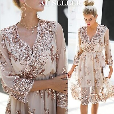 Women's Rose Gold Sequin Long Formal Dress Prom Cocktail Evening Party Dress