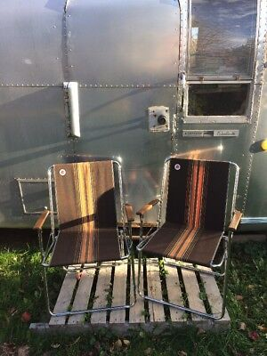 2 Vintage Zip Dee Chrome Folding Chairs RV Camper Brown Air Stream Era