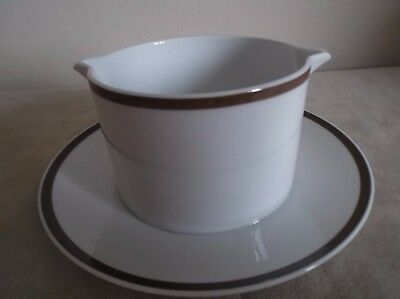 Thomas ~ Wide Brown Band ~  Sauce / Gravy Boat With Fixed Saucer