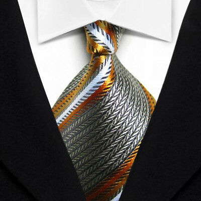 Men's Tie Classic Striped Silver White JACQUARD WOVEN 100% Silk Tie Necktie F024
