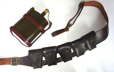WW2 P03 Home Guard Leather Waterbottle, Cradle, and Bandolier