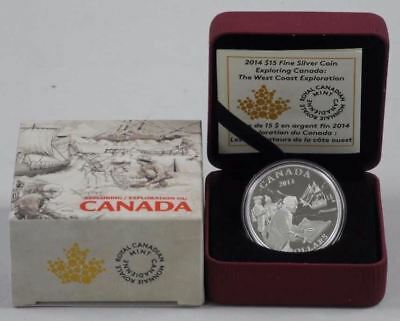 "2014 RCM $15 Fine Silver Coin: ""Exploring Canada - The West Coast Exploration"""