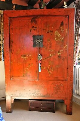 Beautiful Antique Chinese Red Lacquer Cupboard Wedding Cabinet w/ Gold Gilt Deco