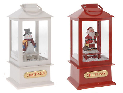Singing Christmas Lantern Santa Xmas Snowman Musical Led Light & Snow 19Cm 553