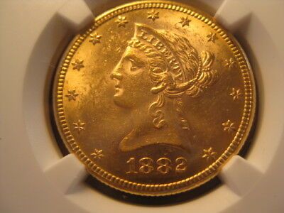 1882 Gold $10.00 Eagle MS 61 by NGC with Deep Gold Luster