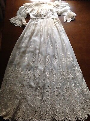 Antique Fine embroidered worked lace christening baby gown dress