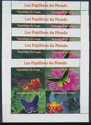 BB1-1905 Congo 2013 insects bugs butterflies 5 sheets MNH