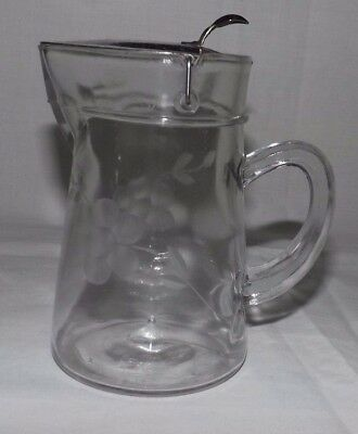 Vintage Floral Etched SYRUP PITCHER with Metal Lid