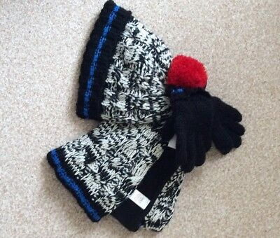 Boys Marks and Spencer's Black Mix Hat, Gloves and Scarf Set Age 6-10 Years