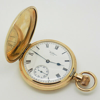 Waltham 17 Jewels Full Hunter Pocket Watch in Gold Plated Dennison Case