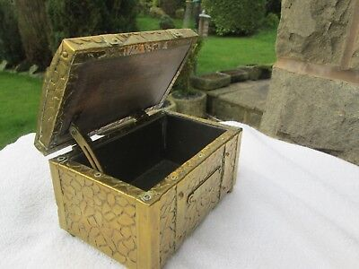 Beautiful Vintage Brass/wood Tea Chest With Copper Rivets, Tin Lined