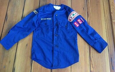 Vintage 80s 90s Cub Boy Scout BSA Shirt w/ Patches Shenandoah Area Council 122